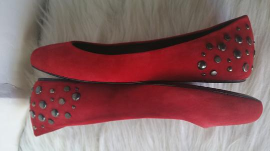 Alexander McQueen Suade Leather Red Flats Image 2