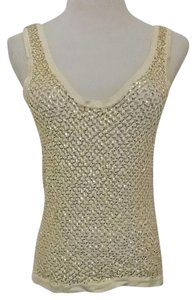 Fetching Crochet Evening Shell Party Gift Top Ivory Cream with Gold Sequins