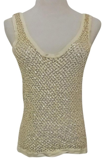 Preload https://img-static.tradesy.com/item/20095900/ivory-cream-with-gold-sequins-crochet-evening-off-white-shell-tank-topcami-size-12-l-0-1-650-650.jpg