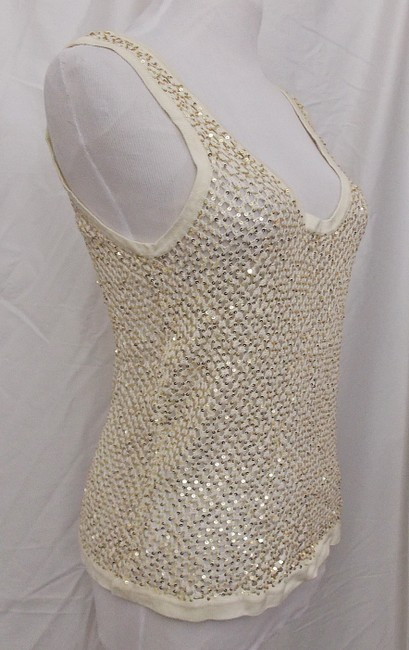 Fetching Crochet Evening Shell Party Shell Top Ivory Cream with Gold Sequins Image 1