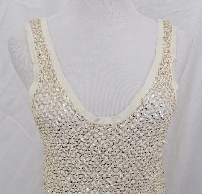 Fetching Crochet Evening Shell Party Shell Top Ivory Cream with Gold Sequins Image 2