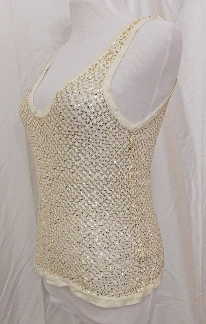 Fetching Crochet Evening Shell Party Shell Top Ivory Cream with Gold Sequins Image 3