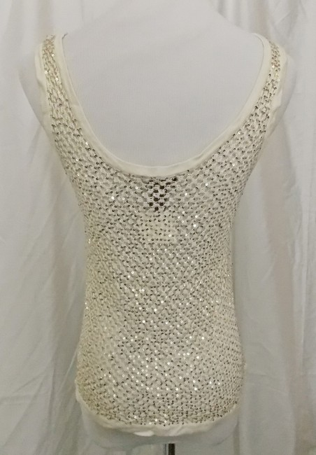 Fetching Crochet Evening Shell Party Shell Top Ivory Cream with Gold Sequins Image 4