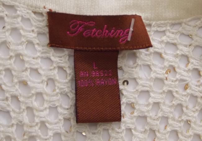 Fetching Crochet Evening Shell Party Shell Top Ivory Cream with Gold Sequins Image 5