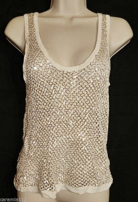 Fetching Crochet Evening Shell Party Shell Top Ivory Cream with Gold Sequins Image 6