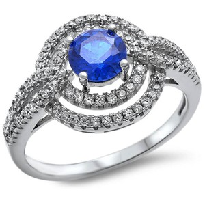 9.2.5 Breathtaking blue and white sapphire royal cocktail ring size 9