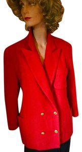 Freedberg for Nordstrom Wool Holiday Double Breasted Gold Buttons Classic Red Blazer