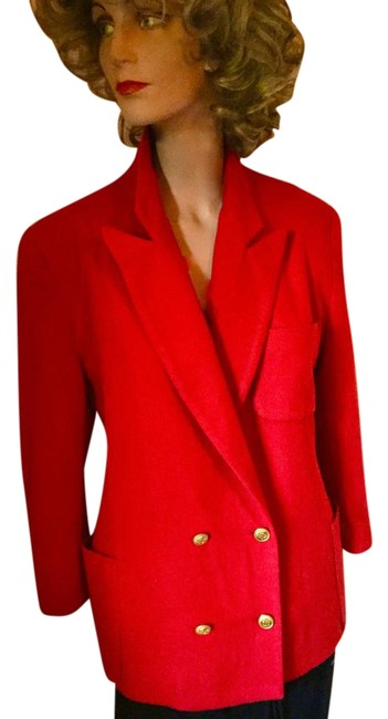 Freedberg for Nordstrom Wool Holiday Double Breasted Gold Buttons Classic Red Blazer Image 0