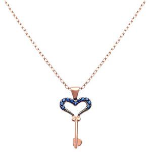 9.2.5 Unique rose gold silver sapphire heart key necklace