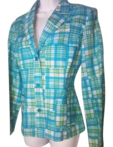 Lilly Pulitzer Terquise, white and yellow patchwork Blazer