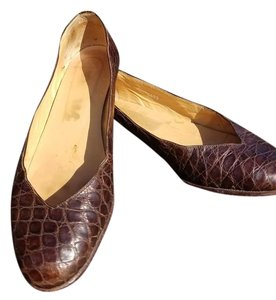 Ralph Lauren Alligator Ballerina Brown Alligator Flats