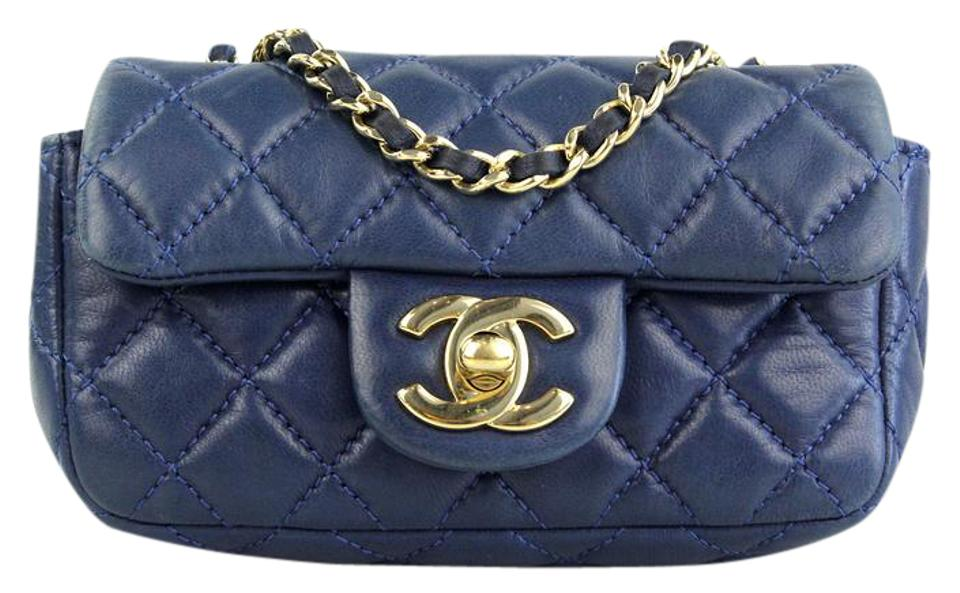 9bd71b0b549cb8 Chanel Classic Valentine Charm Quilted Extra Mini Flap Blue Lambskin  Leather Cross Body Bag