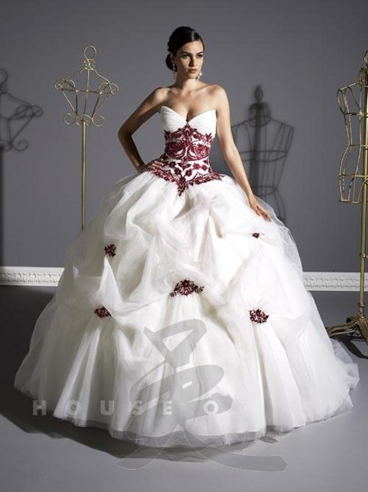 House of Wu Ivory/Ivory Not Red Embroidered Tulle 18827 Traditional ...