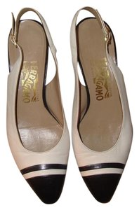 Salvatore Ferragamo Sligback White and Navy Blue Pumps