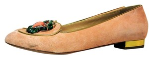 Charlotte Olympia Suede Peach Flats