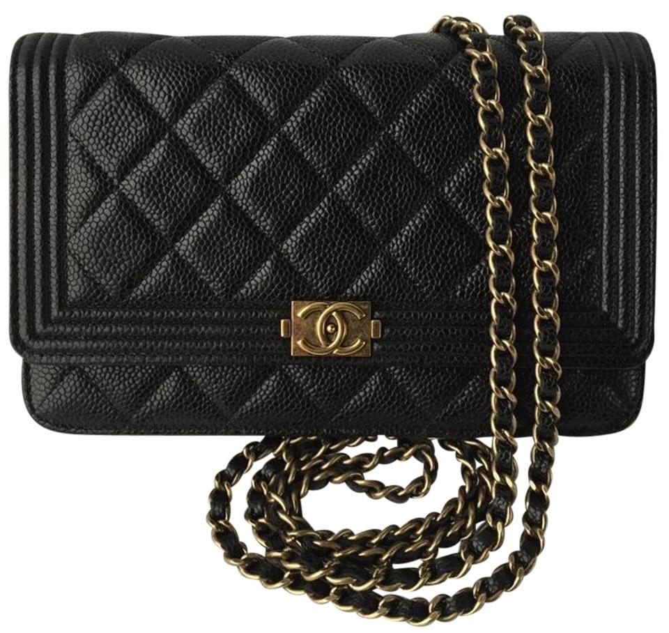 04328aaba2f0f9 Chanel Boy Wallet on Chain Quilted Le (Woc ) Cross Body Black Caviar  Leather Shoulder Bag