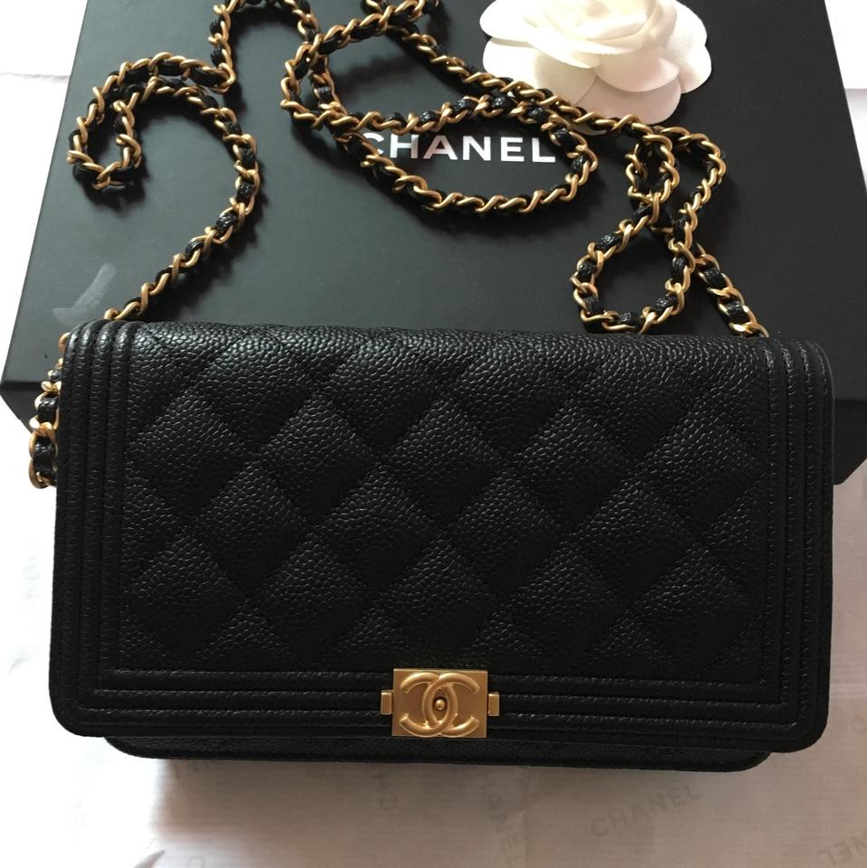 d04c8c9aecc0 Chanel Boy Wallet on Chain Quilted Le (Woc ) Cross Body Black Caviar ...