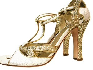 Miu Miu Mary Jane White & Gold Pumps