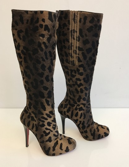 Christian Louboutin Leopard Red Bottoms Fashion Brown Boots Image 3