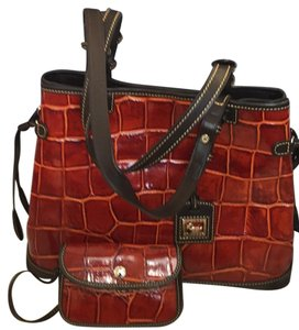 Dooney & Bourke Tote in Burnt Orange W/ Dark Brown Leather Trim