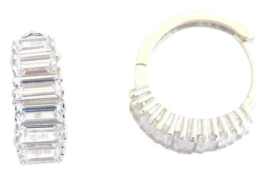 Preload https://img-static.tradesy.com/item/20096268/rhodium-silver-cubic-clear-stones-baguette-social-zirconia-huggie-earrings-0-1-540-540.jpg