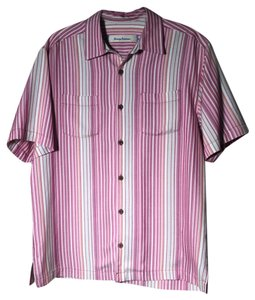 Tommy Bahama Men's Mens Silk Button-up Button Down Shirt Pink white magenta multi-colored