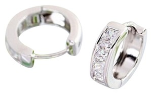 Other Small Hoop Huggie Earrings Silver Tone Princess Cut White CZ Gift BOX