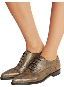 Lanvin Gold Oxfords Brogues Pointed Toe Edgy Aged Gold Flats