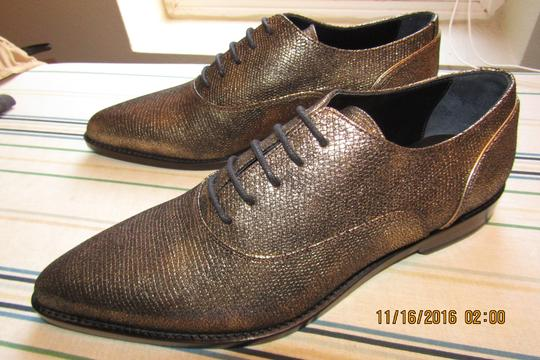 Lanvin Oxfords Brogues Pointed Toe Edgy Aged Gold Flats Image 2