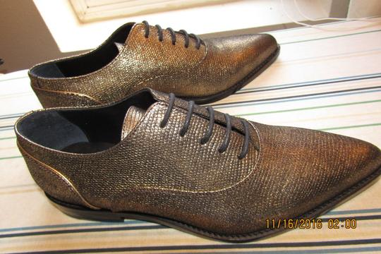 Lanvin Oxfords Brogues Pointed Toe Edgy Aged Gold Flats Image 3