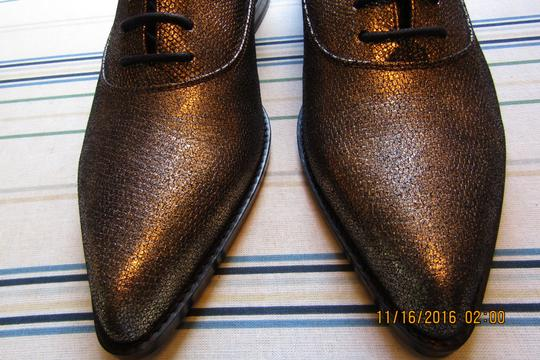 Lanvin Oxfords Brogues Pointed Toe Edgy Aged Gold Flats Image 5