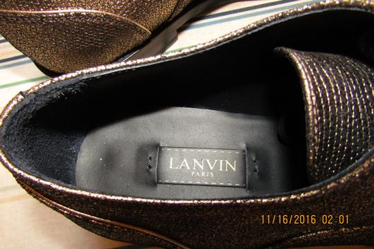 Lanvin Oxfords Brogues Pointed Toe Edgy Aged Gold Flats Image 7
