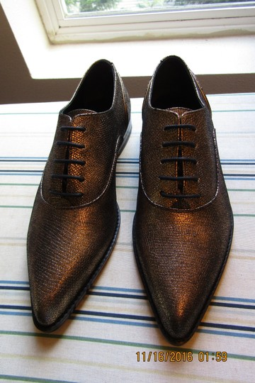 Lanvin Oxfords Brogues Pointed Toe Edgy Aged Gold Flats Image 9