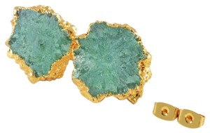 Green Agate Druzy Natural Stone Stud Earrings