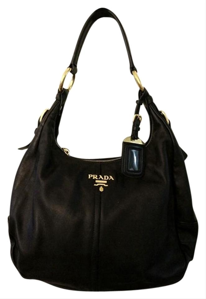 1e20521568171d Prada Vitello Daino Hobo Br4373 Black Leather Shoulder Bag - Tradesy