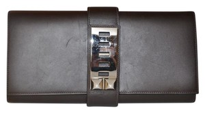 Hermès Medor 29 Palladium Hardware Box Brown Clutch