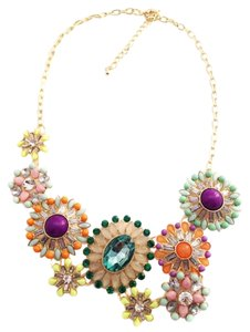 Multi Color Stone Statement Necklace