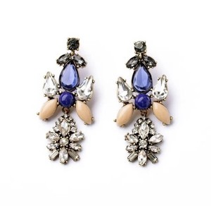 Other Blue Taupe Colored Stone Chandelier Statement Earrings