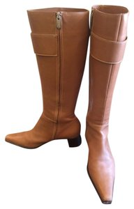 Sergio Rossi Square Toe Double Buckle Knee High Tan Boots