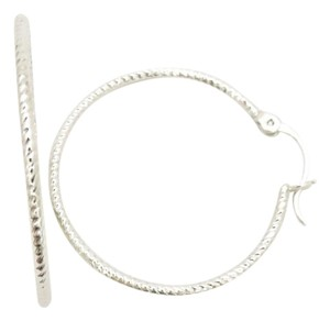 Other Womens' Double Loop Mini Hoop Silver Rhodium Earrings