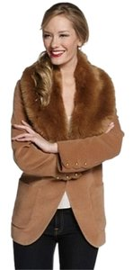 Rachel Zoe Faux Fur Collar Fur Collar Zoe Winter Brown Jacket