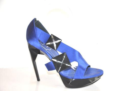 Roger Vivier Satin Embellished Platform Stiletto Size 38.5 Royal Blue Sandals