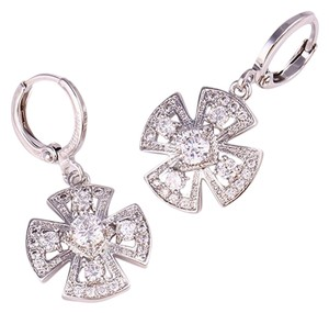 Other Clover Pendant Silver Rhodium Drop CZ Earrings