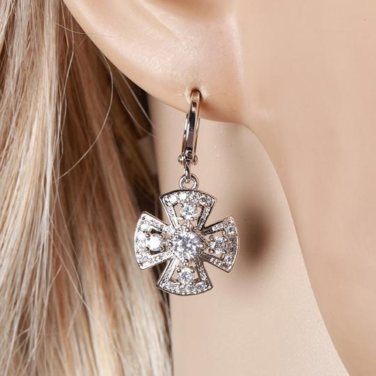 Other Clover Pendant Silver Rhodium Drop CZ Earrings Image 1
