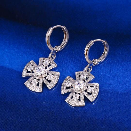 Other Clover Pendant Silver Rhodium Drop CZ Earrings Image 2