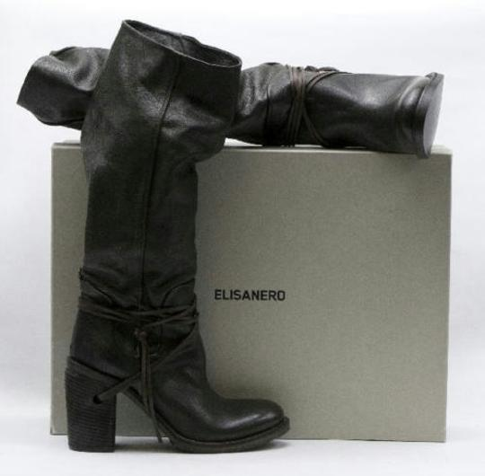 Elisanero Edgy Leather Pebbled Deep Brown Boots