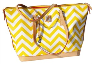 Dooney & Bourke Tote in Saddle Leather Vinyl Yellow and White