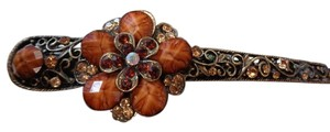 Brown and Bronze Rhinestone Studded Floral Hair Clip