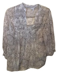 Joie Silk Chiffon Paisley Top tan and brown