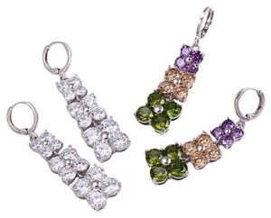 Other Encrusted CZ Tiered Floral Drop Fancy Silver Rhodium Earrings